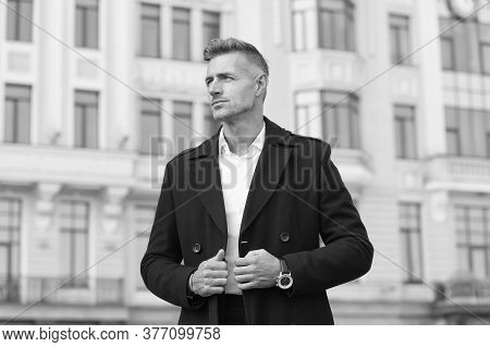 Classic Is Always Appropriate. Successful And Motivated. Business Man Wear Fashionable Coat. Busines