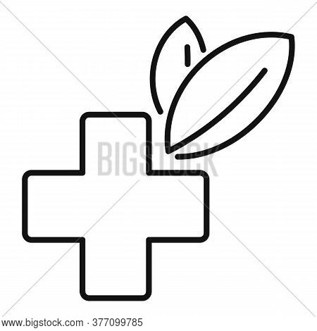 Homeopathy Cross Eco Icon. Outline Homeopathy Cross Eco Vector Icon For Web Design Isolated On White