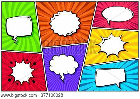 Cartoon Comic Backgrounds Set. Speech Bubble. Comics Book Colorful Poster With Radial Lines. Retro P