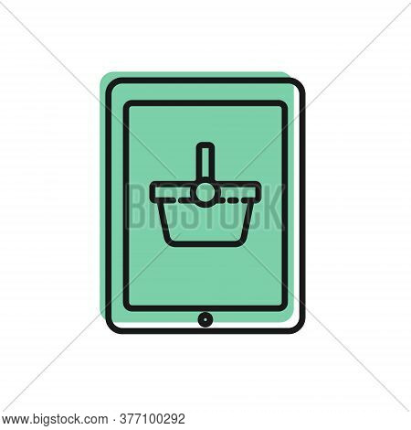 Black Line Shopping Basket On Screen Tablet Icon Isolated On White Background. Concept E-commerce, E