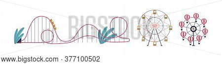 Various Attractions Of Amusement Park Set Vector Flat Illustration. Colorful Ferris Wheel, Roller Co
