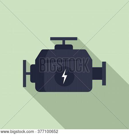 Hybrid Car Engine Icon. Flat Illustration Of Hybrid Car Engine Vector Icon For Web Design