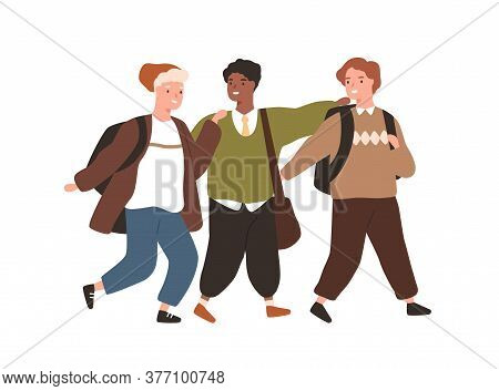 Group Of Smiling Diverse Pupils Hugging Walking Together Vector Flat Illustration. Cute Boys With Ba