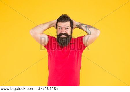 Disappointed Guy. Inner Energy. Lost Success. Bearded Man In Casual Style Regretting. Sadness And Re