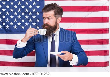 A Rightful Country. Bearded Man Drink Coffee Cup. American Education Reform In July 4. American Citi