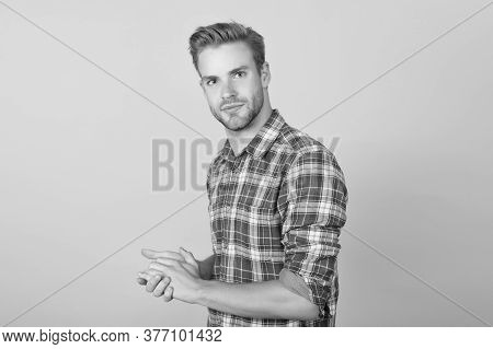 Perfectionist. Student Checkered Shirt. Unshaven Man Care Skin And Beard. Handsome Man. Barbershop C