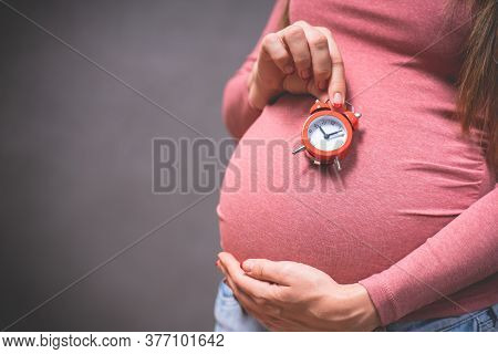 Pregnancy Time Concept, Motherhood, People And Expectation Idea. Toned Photo Of Pregnancy. Pregnant