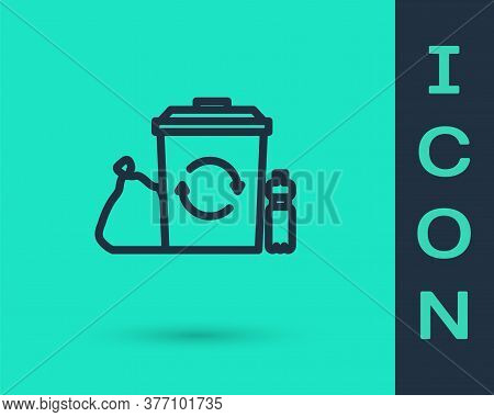 Black Line Recycle Bin With Recycle Symbol Icon Isolated On Green Background. Trash Can Icon. Garbag