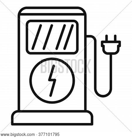 Charge Eletric Station Icon. Outline Charge Eletric Station Vector Icon For Web Design Isolated On W