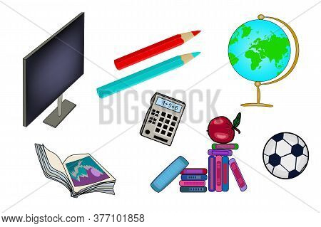 Set Of School Supplies Isolated On White Background. Back To School. Stationery And School Supply Ic