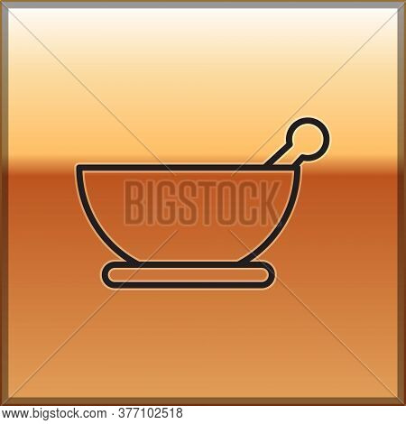 Black Line Mortar And Pestle Icon Isolated On Gold Background. Vector Illustration