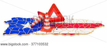 Puerto Rican Map With Traffic Cones And Warning Triangle, 3d Rendering Isolated On White Background