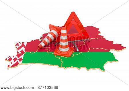 Belorussian Map With Traffic Cones And Warning Triangle, 3d Rendering Isolated On White Background