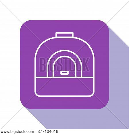 White Line Oven Icon Isolated On White Background. Stove Gas Oven Sign. Purple Square Button. Vector