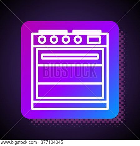 White Line Oven Icon Isolated On Black Background. Stove Gas Oven Sign. Square Color Button. Vector