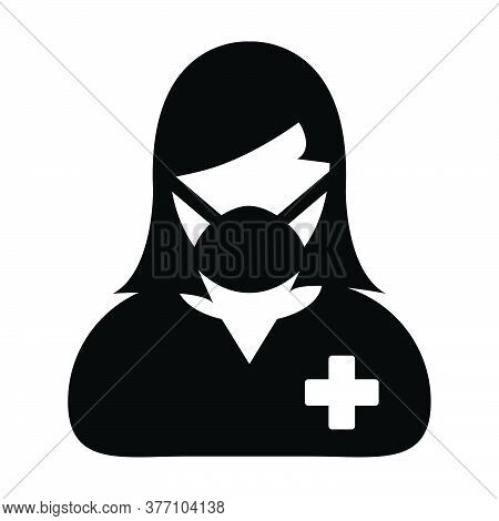 Patient Icon Vector With Face Mask Person Profile Female User Avatar Symbol For Medical And Health C