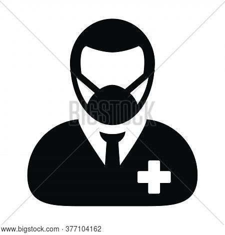 Respirator Mask Icon Vector With Patient Person Profile Male User Avatar Symbol For Medical And Heal