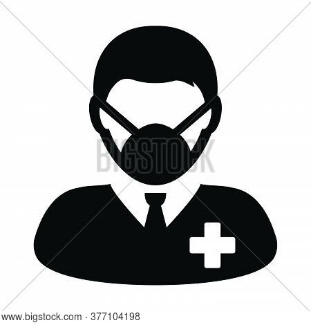Flu Face Mask Icon Vector With Patient Person Profile Male User Avatar Symbol For Medical And Health