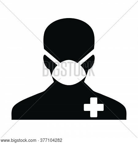 Face Mask Icon Vector With Patient Person Profile Male User Avatar Symbol For Medical And Health Car