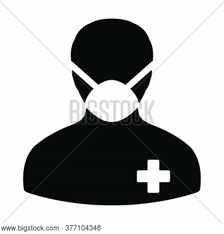 Profile Icon Vector With Face Mask Patient Person Male User Avatar Symbol For Medical And Health Car