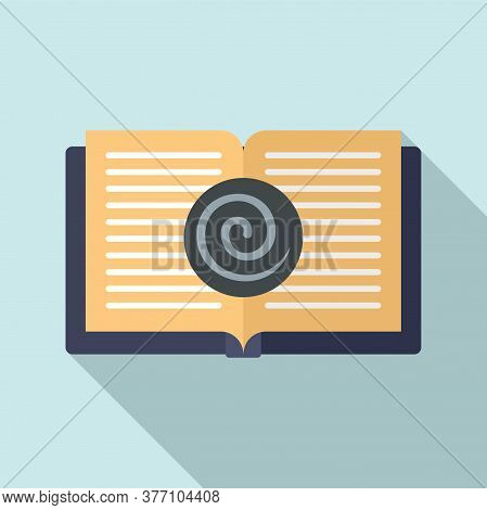 Open Hypnotherapy Book Icon. Flat Illustration Of Open Hypnotherapy Book Vector Icon For Web Design