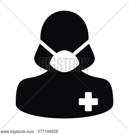 Medical Mask Icon Vector With Patient Person Profile Female User Avatar Symbol For Medical And Healt