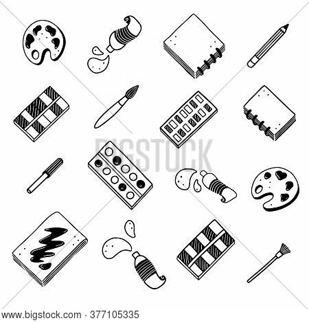 Hand Drawn Set Of Creative Artist Tools Element, Brush, Pencil, Paint, Sketchbook, Marker. Doodle Sk