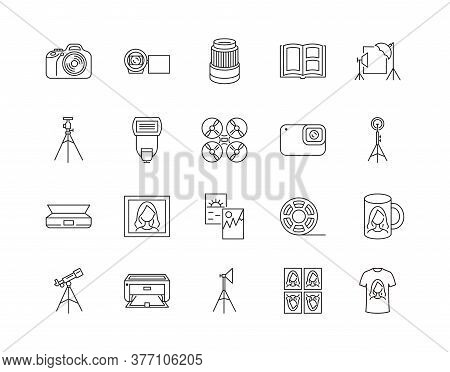 Photocopying And Scan Services Line Icon. Photographic Equipment For Professional Photographers. Pho