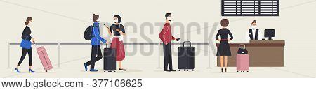 People Stand In Queue Or Queuing At Check-in Desk To Check In For Flight In Airport. Men And Women W