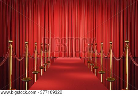 Theater Stage With Red Velvet Curtains And Event Carpet With Golden Barrier. 3d Illustration
