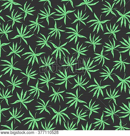 Dark Black Seamless Pattern With Hand Drawn Green Inky Tropical Palm Leaves. Contrast Weed Floral El