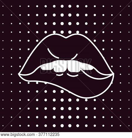 Woman Lips In Pop Art Retro Style Set. Black Mouth, Bit Lower Lip. Vector Illustration
