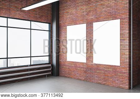 Modern Exhibition Hall Room With Two Empty Banners On Brick Wall, Wooden Floor And City View. Perfor