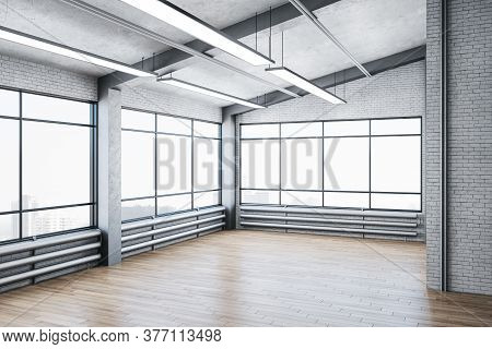 Minimalistic Gallery Interior With City View And Big Windows. Gallery, Advertisement, Presentation C