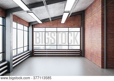 Modern Gallery Interior With Red Brick Wall, Windows And City View. Gallery And Presentation Concept