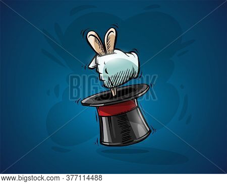 Magical Focus Trick. Cartoon Hand Of Magician Gets Ears Of Hare Rabbit From Top Hat Cylinder. Hand D