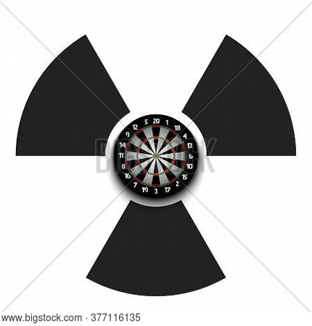 Radiaction Symbol With Dartboard. Caution Radioactive Danger Sign. Soccer Quarantined. Cancellation