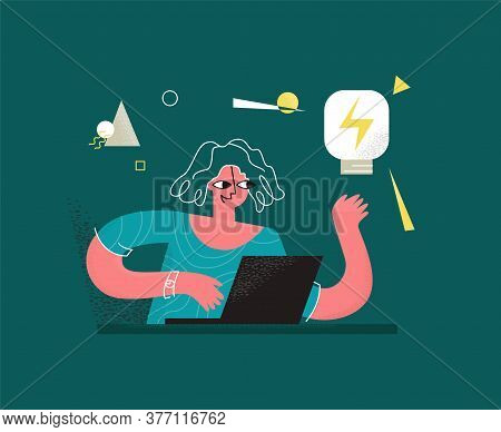 Vector Illustration Woman Who Works Online On Laptop. She Has Light Bulb In Her Hand As Symbol Of Id