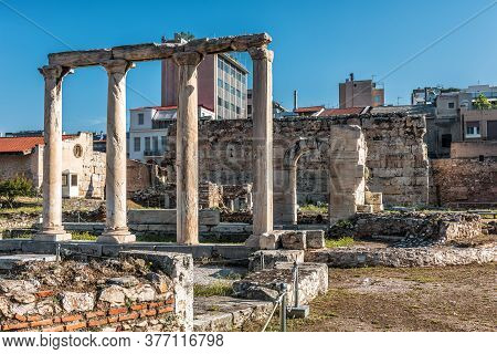 Library Of Hadrian In Athens, Greece. It Is Famous Tourist Attraction Of Athens. Scenic View Of Hadr