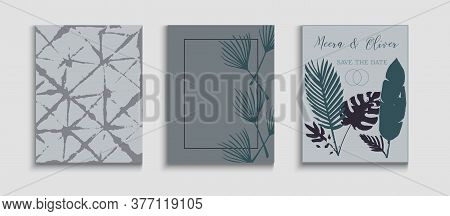 Abstract Elegant Vector Cards Set. Tie-dye, Tropical Leaves Covers. Simple Olive Leaves Invitation D
