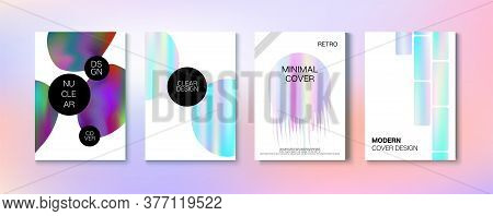 Holographic Gradient Vector Background. Dreamy Holo Bright Trendy Layout. Iridescent Gradient Overla