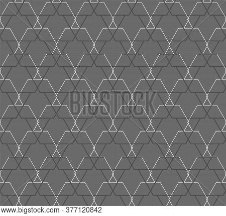 Continuous Elegant Vector Symmetrical, Lattice Pattern. Repetitive Line Graphic Hex Design Texture.