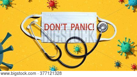 Dont Panic Theme With Medical Mask And Stethoscope
