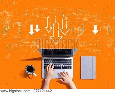 Descending Arrows With Person Using A Laptop Computer