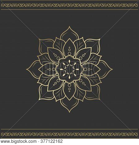 Minimal Mandala Design With Gold Color, Vector Mandala Floral Patterns With Black Background, Hand D