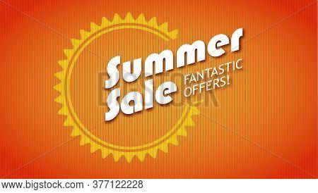 Summer Sale. Fantastic Offers. Vector 3d Illustration On Red Background