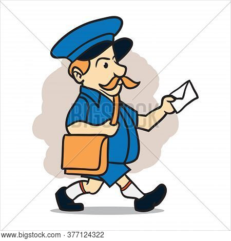Mailman Delivery Massahe And Package Logo Illustration