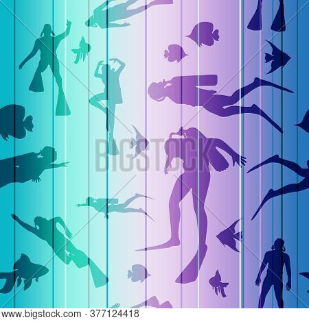 Silhouettes Of Diver. Seamless Background With Diver Icons. The Concept Of Sport Diving.