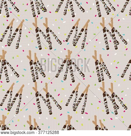 Chocolate Covered Stick Pretzels And Sprinkles Seamless Pattern On Beige Background Design