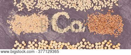 Different Nutritious Ingredients As Source Calcium, Minerals And Dietary Fiber. Healthy Lifestyle An
